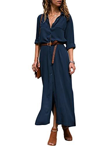 Miessial Women's Chiffon Long Sleeve Button Dress Casual Split Maxi Shirt Dresses...