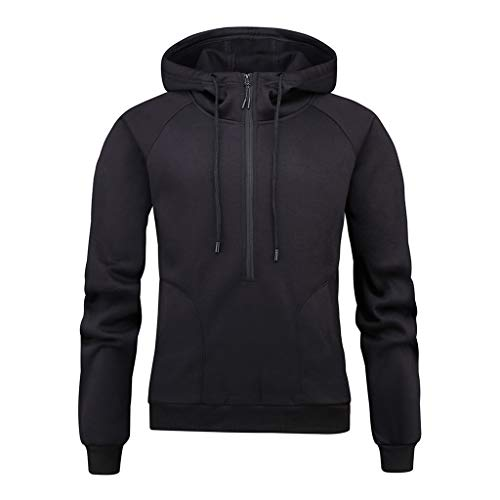 WUAI Autumn Fashion Hoodie Men's Casual Hoodies Pullover Sports Outwear Sweatshirts Pockets(Black,US Size S = Tag M)