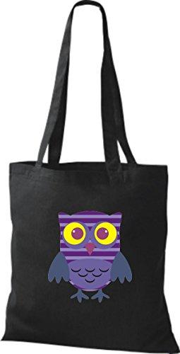 ShirtInStyle Jute Stoffbeutel Bunte Eule niedliche Tragetasche mit Punkte Karos streifen Owl Retro diverse Farbe, schwarz schwarz