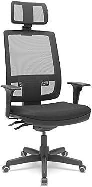 Cadeira de Escritório Presidente Brizza Braço 3D Backplax Revestimento Couro Ecológico Preto- Plaxmetal