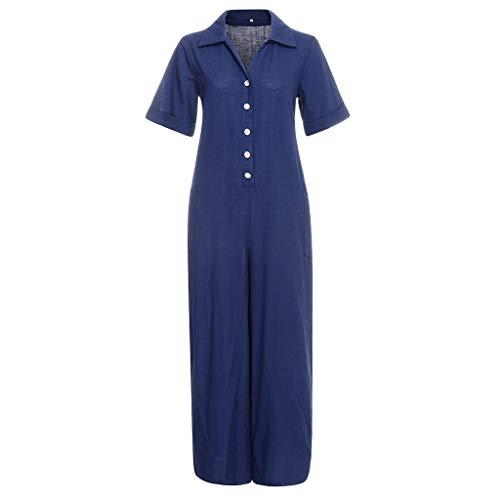 Women Fshion Pocket Short Sleeve V-Neck Jumpsuits Lady Loose Playsuit Trousers Blue 1970's Womens Hawaiian Dress