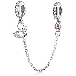 Cadena de seguridad de plata de ley 925 con diseño de corazón, flor, copo de nieve, lazo de vidrio de circonia cúbica transparente, cierre de clip, joyería para pulsera o cadena de serpiente europea
