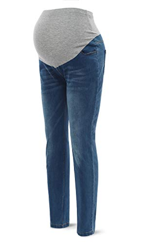 SUNNYBUY Women Maternity High Waist Jeans Pregnancy Pants Stretch Belly (Blue Ocean - Size Plus Maternity Jeans