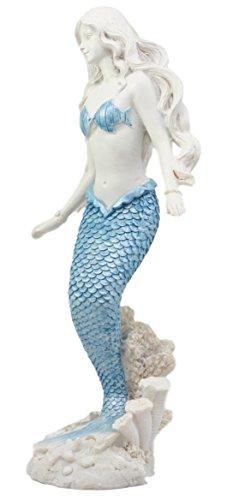 Atlantic Collectibles Aqua Blue Tailed Ocean Mermaid Figurine 11.75 H Aquamarine Goddess Standing On Coral Reef Decorative Statue