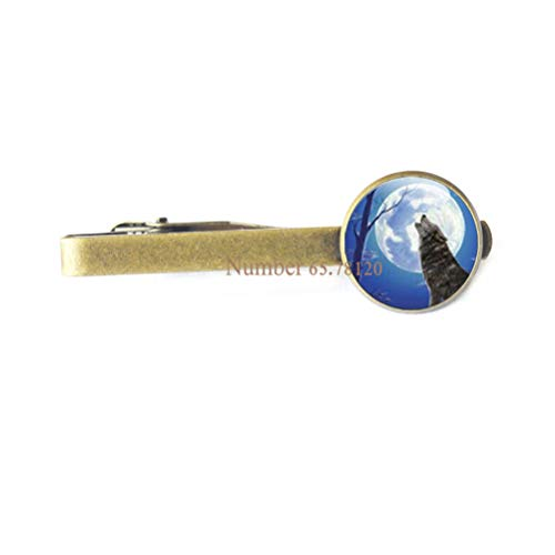 Wolf Tie Clip Howling Wolves Animal Jewelry Full Moon Art Tie Pin,Wolf and Moon Tie Clip Glass Tie Pin Tie Clip Wolf Jewelry,BV286 (V2)