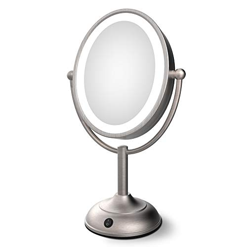 Lighted Makeup Mirror - 8 x 7 LED Vanity Mirror with 1x/5x Magnifying, 360° Rotation Double Sided Makeup Mirror With Round Non-slip Base, Natural White Light, AC Adapter Or Battery Operated