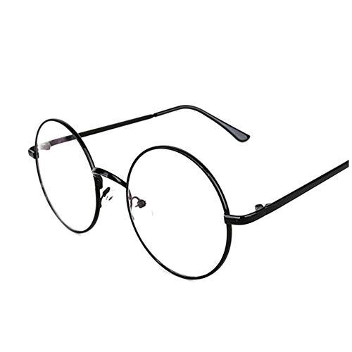 Lovef Large Oversized Metal Frame Clear Lens Round Circle Vintage Eye Glasses 5.42inch (Black) ()