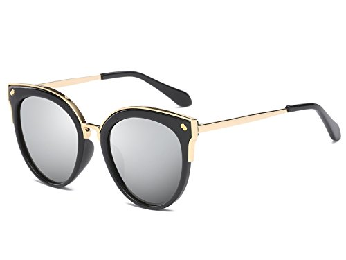 Bevi Women's Fashion Polarized Cat Eye Polycarbonate Metal Sunglasses 0932C2BKSL