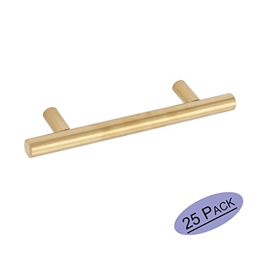 25Pack Gold Cabinet Drawer Pulls Kitchen Hardware - Goldenwarm 201GD76 Brushed Brass Cabinet Handles T Bar Door Pull Knobs 3in Hole Centers, 5in Overall Length