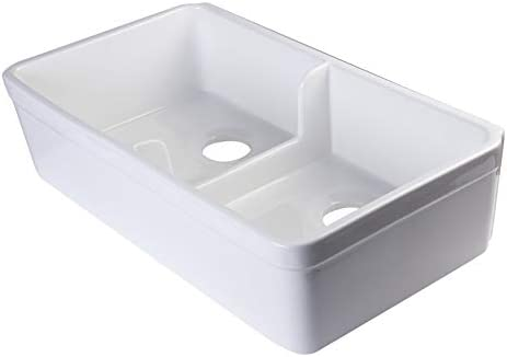 ALFI brand AB5123 32-Inch Short Wall Double Bowl Fireclay Farmhouse Kitchen Sink with 1 3 4-Inch Lip, White