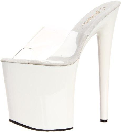 Donna Sandali Flamingo wht Pleaser 801 Bianco clr qF6Eptxtw