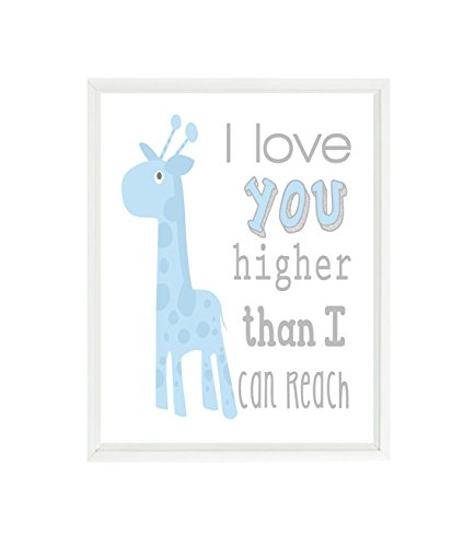 Amazoncom Giraffe Nursery Art Baby Boy Nursery I Love You Higher