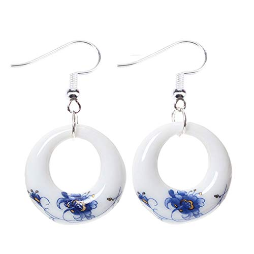 (UHANGETH Chinese Ethnic Style Blue and White Porcelain Fashion Pattern Drop Dangle Earrings Jewelry (Ring Flower))