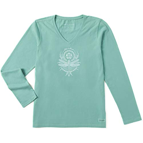 (Life is Good Womens Long Sleeve Graphic T-Shirt Crusher Collection,Dragonfly,Aqua)