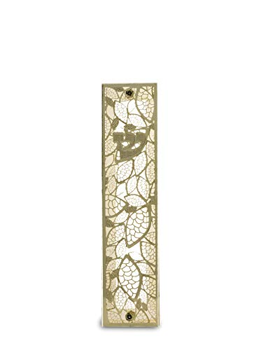 (Israeli Center Of Judaica Perspex Mezuzah with Gold-Plated-Brass Cutout Lace Leaf Design)