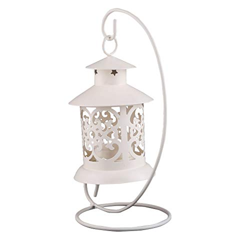 Candle Holders - Nhbr Iron Moroccan Style Candlestick Candleholder Candle Stand Light Lantern White - Modern Light Sills Centerpiece Vase Bath Indian Murcury 20 Outdoor