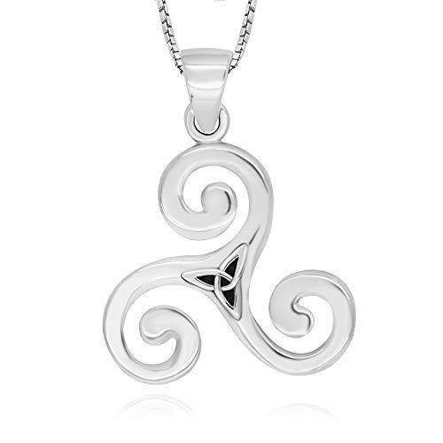 925 Sterling Silver Celtic Triple Spiral Triskele Triskelion Pendant Necklace, 18