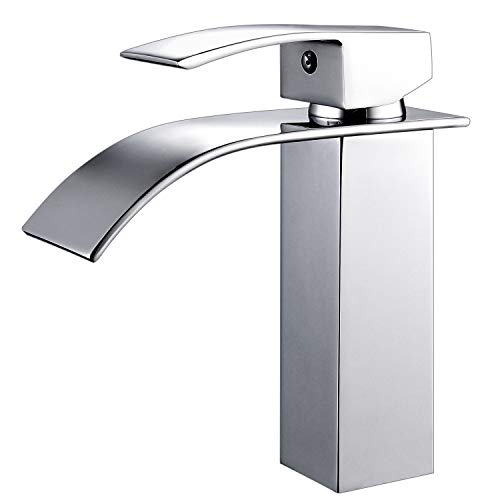 Best Deals! HOROW Single Handle Waterfall Bathroom Vanity Sink Faucet with Extra Large Rectangular S...
