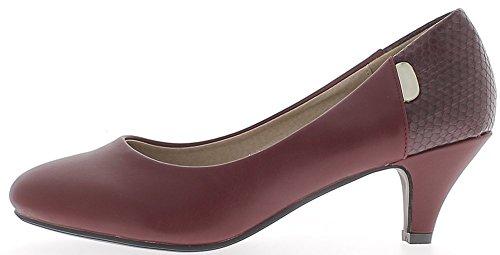 ChaussMoi Croco e Borgogna Scarpe grandi dimensioni 6 cm pelle guardare tacco