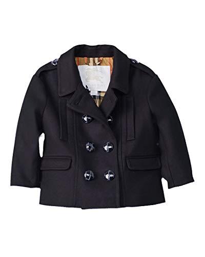 BURBERRY Girls Mini Wilamina Wool Coat, 6M, Blue