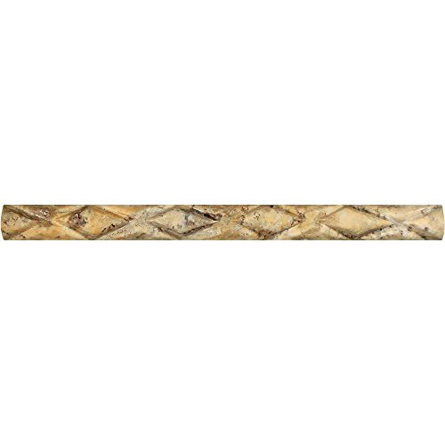 Honed Scabos Travertine Diamond Rope Liner, 1 x 12