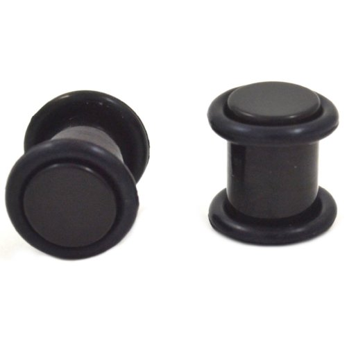 Pair (2) Solid Black Acrylic Ear Plugs Light Gauges w/O-Rings - 2G 6MM