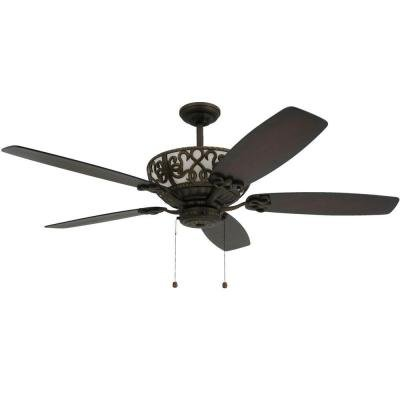 """TroposAir Excalibur 60"""" Rubbed Bronze Ceiling Fan with Uplight"""