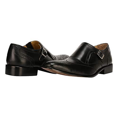 Mens Double Buckle Wing Tip Dress Shoe 13 BLACK