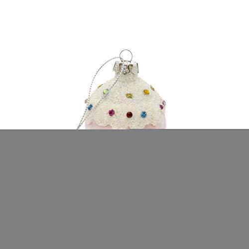 Indaba Trading Ice Cream Cone Pretty Pink 4 x 3 Glass Christmas Hanging Figurine Ornament