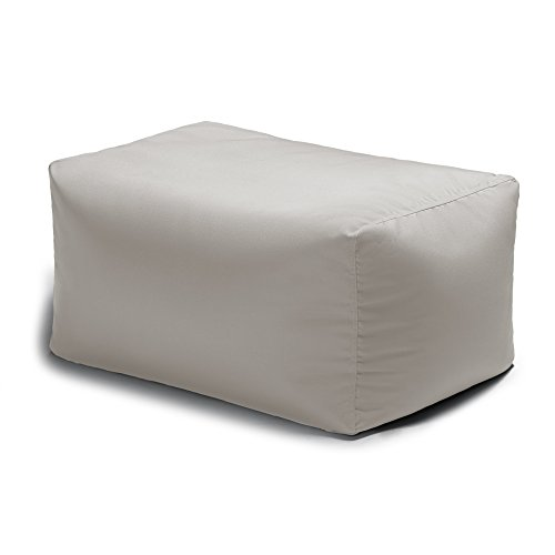 Jaxx Leon Outdoor Bean Bag Patio Ottoman, Pearl