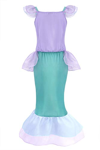 HenzWorld Little Girls Dresses Mermaid Costume Princess Clothes Birthday Party Role Pretend Cosplay Necklace Headband Accessories Outfits Ruffle Fish Scale Kids 9-10 Years Old