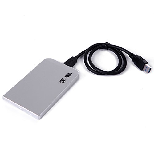HDE Aluminum External Hard Drive Enclosure 2.5 to USB 3.0 Supports SSD and Mechanical Drives, Silver (500 Gb 2.5in Usb)