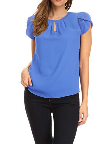 (GloryStar Women's Chiffon Blouse Cap Sleeve Keyhole Tops Layering Basic Pleated Tops Blue S)