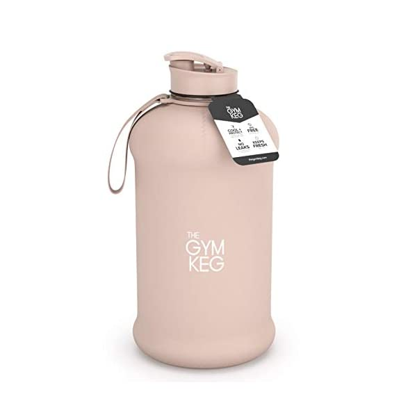 BPA Free Built-In Carry Handle Large Gym Water Bottles Ecofriendly The Gym Keg Official Sports Water Bottle 2.2 L Fitness 40/% Thicker Plastic Exercise Insulated Sleeve