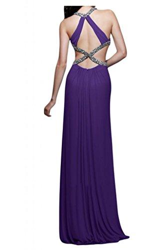 Toscana novia dibujos Rueckenfrei por la noche vestidos de gasa Prom bola vestidos de fiesta largo morado