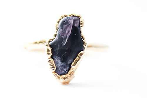 Engagement Estate Antique Style Ring (Chunky Natural Spinel Ring Plated in 24k Gold - Size 5.25)