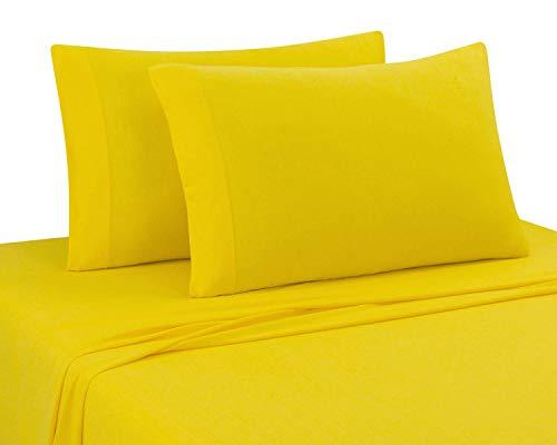 Queen Yellow T-shirt - DELANNA Jersey Knit Sheet Set Soft, Breathable, Cotton Rich T-Shirt Weave (Yellow, Queen)