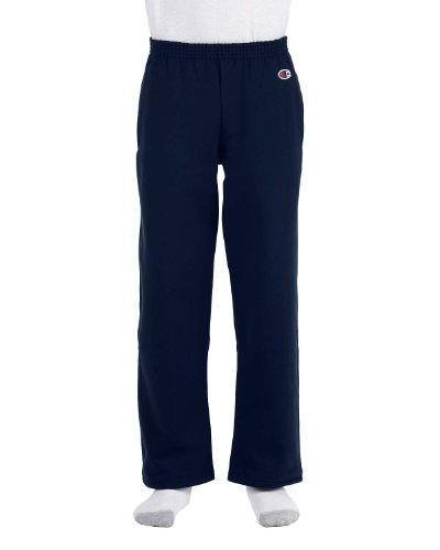 Champion Youth Double Dry Action Fleece Open Bottom Pant, Navy, S