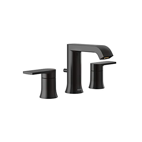 Moen T6708BL Genta Two-Handle Widespread Modern Bathroom Faucet, Valve Required, Matte Black