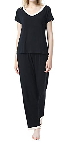 (ANCHOVY Womens Comfy Short Sleeve Pajamas Set Modal Knit Top Pants Loungewear P04 (Black, S))