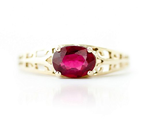 1.15 ct 14K Solid White Rose Yellow Gold Filigree Solitaire Ring with Natural Ruby 2330 (Yellow-Gold, 5.5) by Galaxy Gold (Image #3)