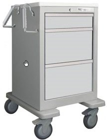 - MSEC by Waterloo, QUICK SHIP PROGRAM, 3 Drawer Slim Mini Economy Cart, Gray