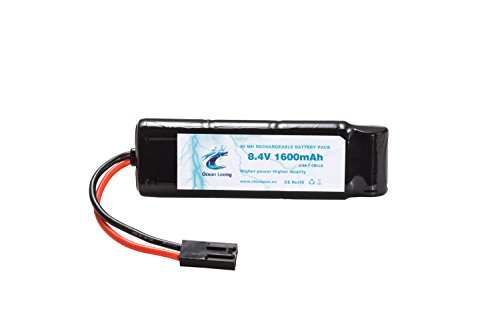 Ocean Loong Airsoft Battery NiMH8.4V 1600mAh Flat Packed Battery with Mini Tamiya Connector,Great for AEG & Airsoft BB Gun