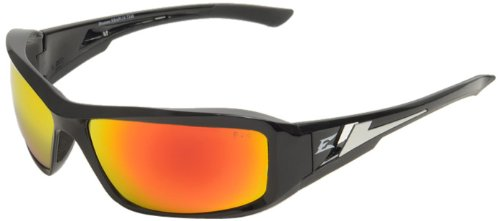 Edge Eyewear XBAP119 Brazeau Safety Glasses, Black with Aqua Precision Red Mirror Lens