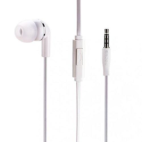 Premium Flat Wired Headset MONO Hands-free Earphone w Mic Single Earbud Headphone Earpiece In-Ear [3.5mm] White for Verizon LG Stylo 2 V - Verizon LG V10 - Verizon LG V20 ()