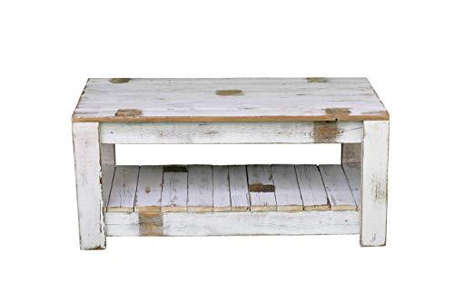 (White Farmhouse Coffee Table with Shelf)