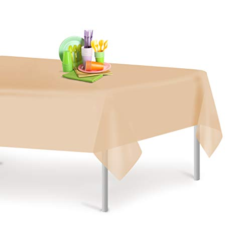 Ivory 12 Pack Premium Disposable Plastic Tablecloth 54 Inch. x 108 Inch. Rectangle Table Cover By Dluxware ()