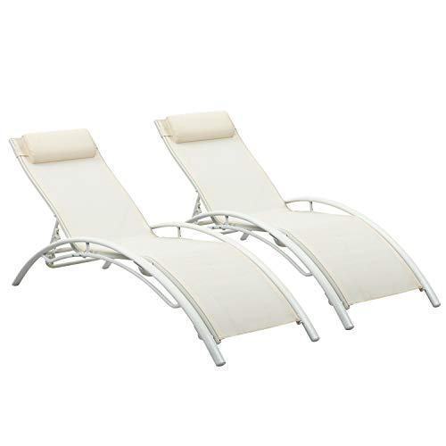 Ainfox Adjustable Chaise Lounge, Patio Reclining Elegant Lounge Chair Recliners Aluminum Sunbathing Chair with Headrest 2 Pack (White) (White Lounge Patio Reclining Chaise)