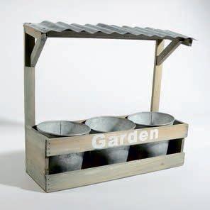 Madera Jardinera con techo para colgar – con 3 metal ollas: Amazon.es: Jardín