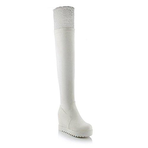 Cuir Enfiler Blanc L'intérieur À Bottes En À Dentelle AdeeSu Fille Plate Imité Cuir À En L'intérieur À En Hauteur Forme qwn6FHx7